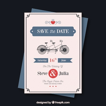 Wedding card template with retro bycicle