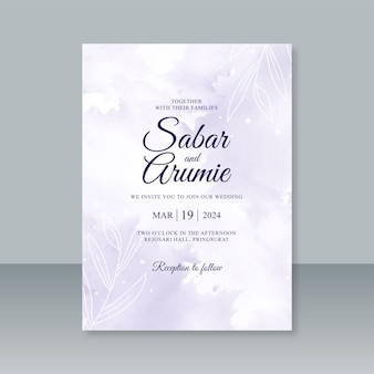 Wedding card template with splash watercolor