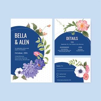 Шаблон свадебной открытки с весенней яркой концепцией акварельной иллюстрации