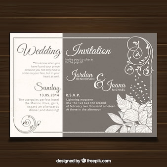 Wedding card template with vintage style