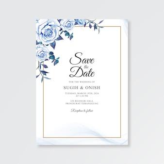 수채화 꽃 웨딩 카드 템플릿