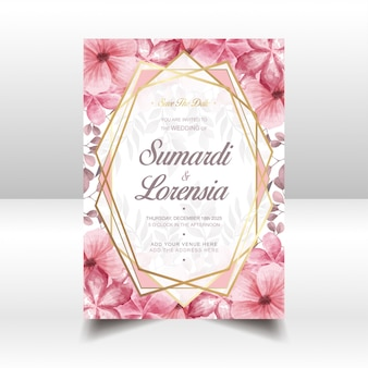 Wedding card template with watercolor flowers and golden frame