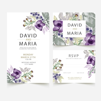 Wedding card template with watercolor flowers