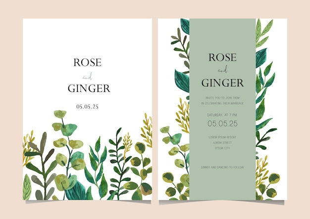 Wedding card template with watercolor foliage