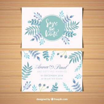 ウェディングカード、水彩、葉