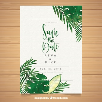 Wedding card template with watercolor leaves