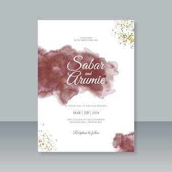 수채화 스플래시와 반짝이 웨딩 카드 템플릿