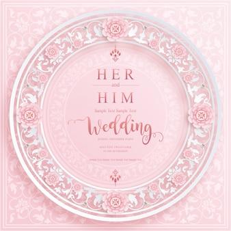結婚式の招待状と紙の色の背景に結晶のウェディングカードテンプレート。