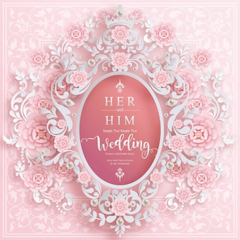 Wedding card templates for wedding invitation with  and crystals on paper color background.