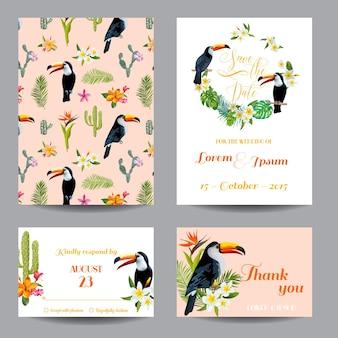 Свадебная открытка с тропическими цветами и птицей тукан