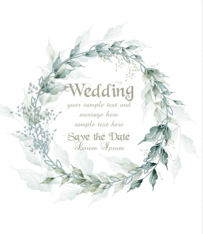 Wedding card watercolor green leaves wreath