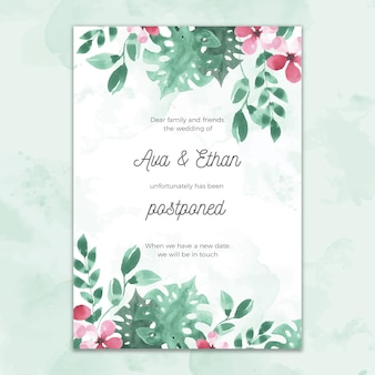 Wedding card watercolor style