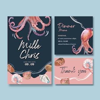 タコと貝殻、創造的なコントラストカラーイラストとウェディングカード水彩画。