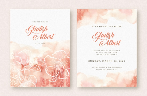Wedding card watercolor with splash and flowers template