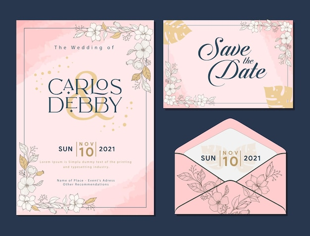 結婚式のカード結婚式の招待状のテンプレートセットデザイン花ピンクピーチローズエレガント