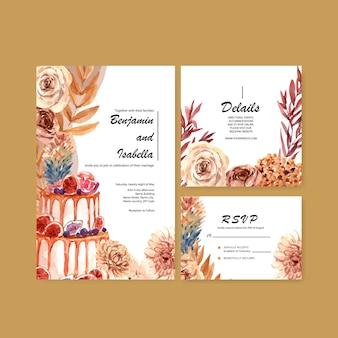 テンプレートと招待状カード水彩イラストの秋の花のコンセプトデザインのウェディングカード。