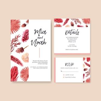 テンプレートと招待カードの秋の花のコンセプトデザインのウェディングカード