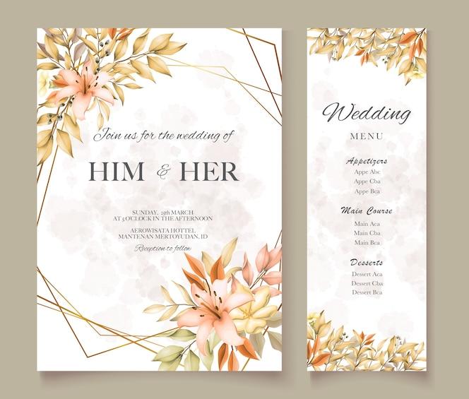 Carta di matrimonio con foglie d'autunno