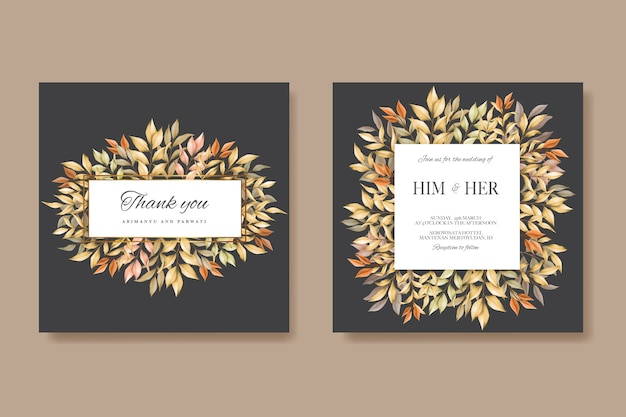 Wedding card with autumn leaves