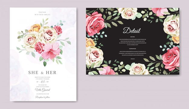 Wedding card with beautiful floral template