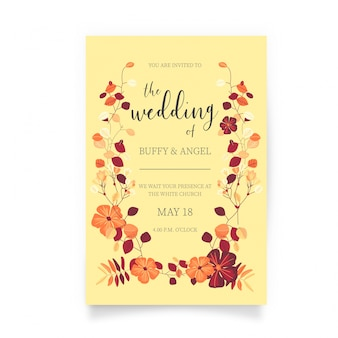 Wedding card with beautiful flowers