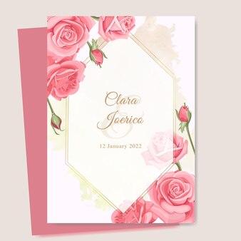 美しいバラのテンプレートと結婚式のカード