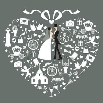 花嫁と花婿のウェディングカード