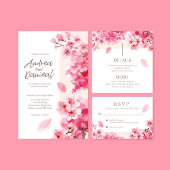Wedding card with cherry blossom concept design watercolor illustration