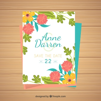 Wedding card with colorful floral style