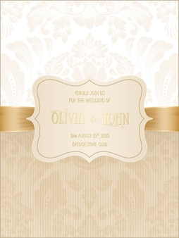 Wedding card with damask and elegant floral elements.