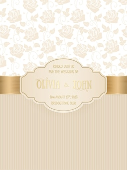 Wedding card with damask and elegant floral elements