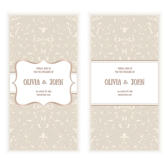 Wedding card with damask pattern