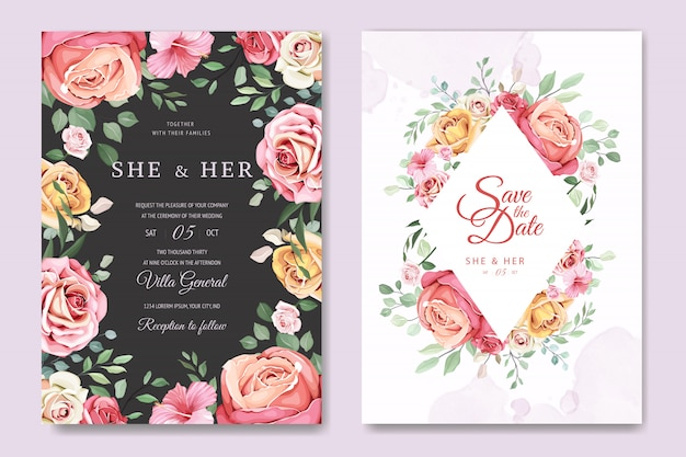 Wedding card with elegant floral and leaves template