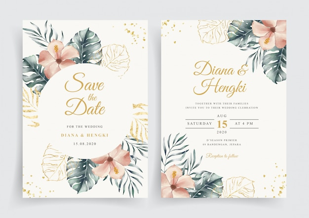 Wedding card with elegant tropical floral