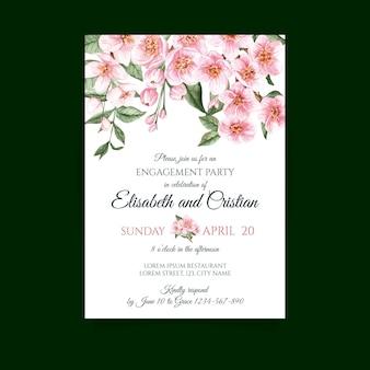 花の要素を持つウェディングカード