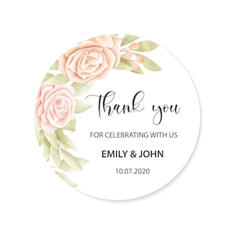 Wedding card with floral frame