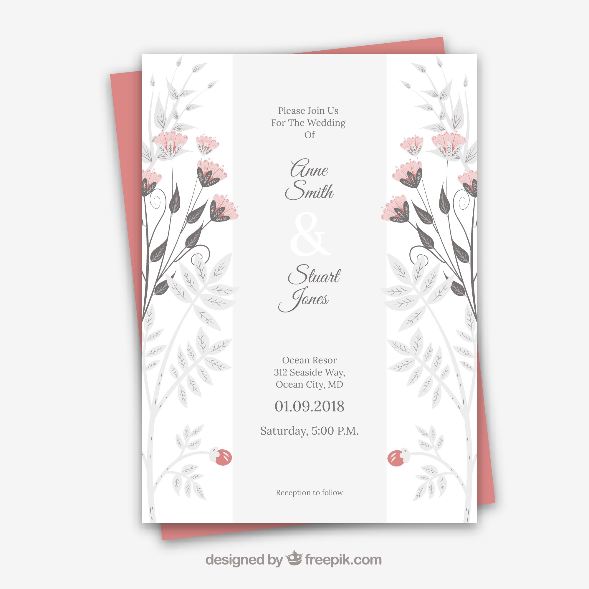 Wedding card with floral ornaments