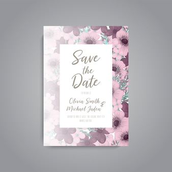 Wedding card with flower rose