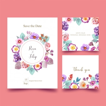 Wedding card with flowers on pink