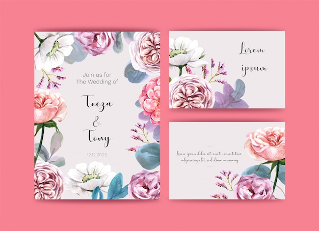Wedding card  with flowers.