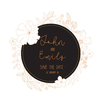 Wedding card with golden design