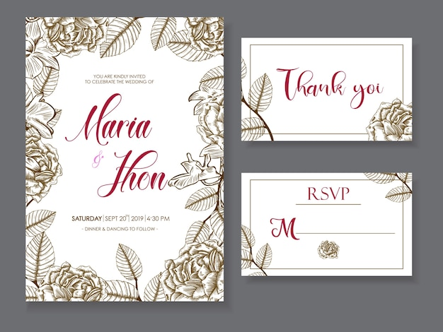 Wedding card with hand drawn flowers set