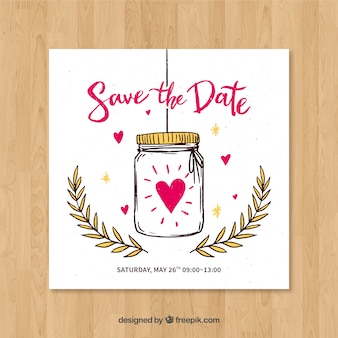 Wedding card with hand drawn jar and hearts