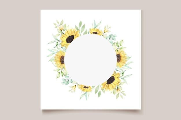 손으로 그린 수채화 해바라기와 웨딩 카드