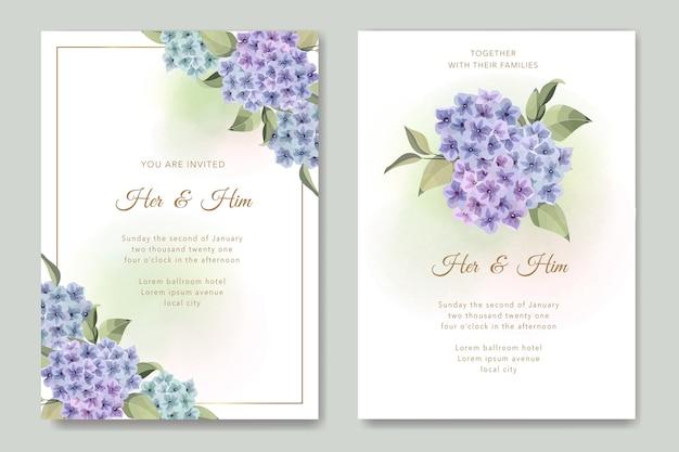 あじさいの花のウェディングカード