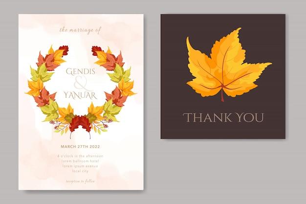 Wedding card with maple leaf