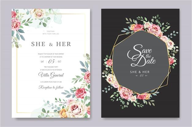 Свадебная открытка с орнаментом из цветов и листьев