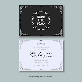 Wedding card with ornaments