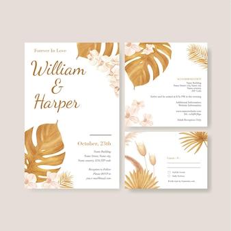 팜파스 꽃 수채화와 웨딩 카드