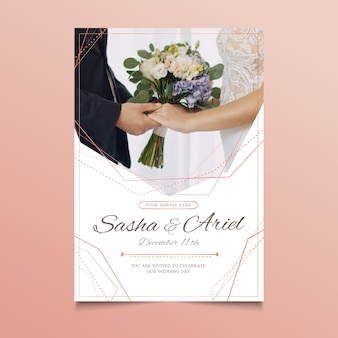 Wedding card with photo of couple holding hands